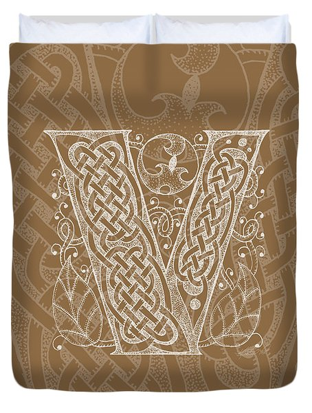 Celtic Letter V Monogram Duvet Cover