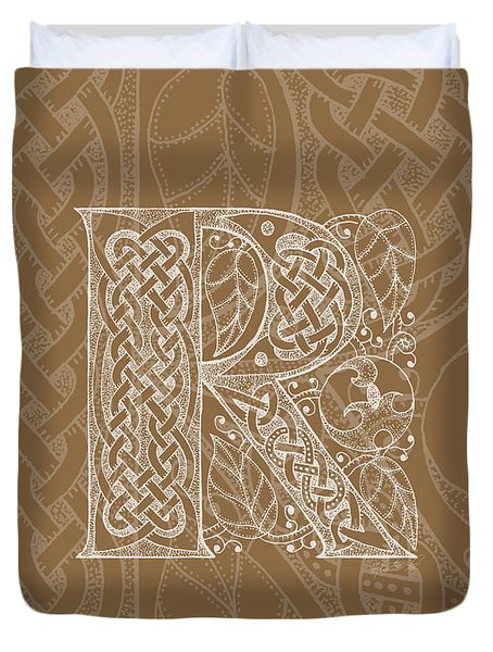 Celtic Letter R Monogram Duvet Cover