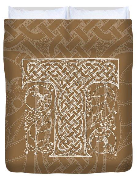 Celtic Letter T Monogram Duvet Cover