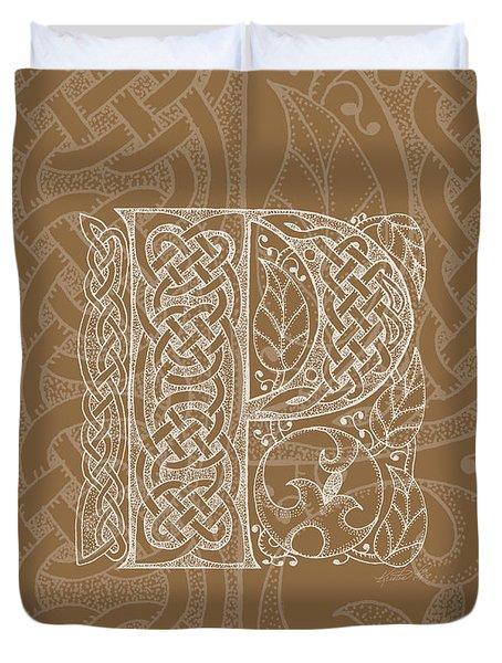 Celtic Letter P Monogram Duvet Cover