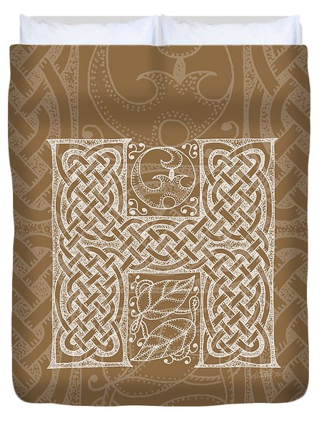 Celtic Letter H Monogram Duvet Cover