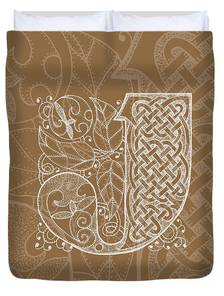 Celtic Letter J Monogram Duvet Cover