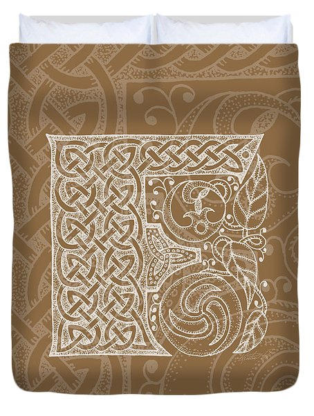 Celtic Letter F Monogram Duvet Cover