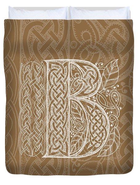 Celtic Letter B Monogram Duvet Cover