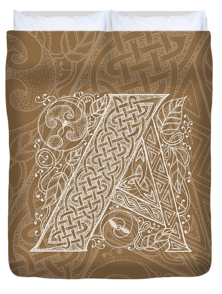 Celtic Letter A Monogram Duvet Cover