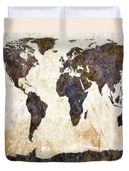 World Map Abstract Duvet Cover by Bob Orsillo