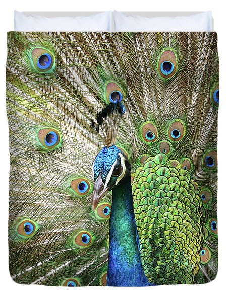 Duvet Cover featuring the photograph Peacock Indian Blue by Sharon Mau