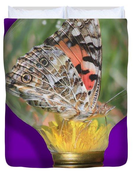 Butterfly In Lightbulb Duvet Cover