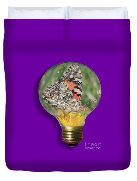 Butterfly In Lightbulb Duvet Cover