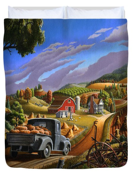 Autumn Appalachia Thanksgiving Pumpkins Rural Country Farm Landscape - Folk Art - Fall Rustic Duvet Cover