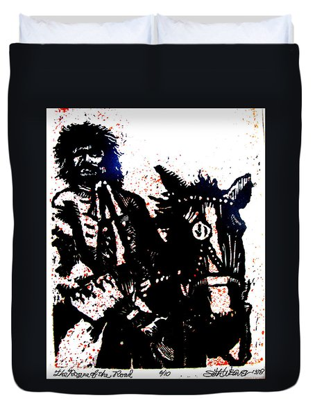 Duvet Cover featuring the relief Rogue Of The Road by Seth Weaver
