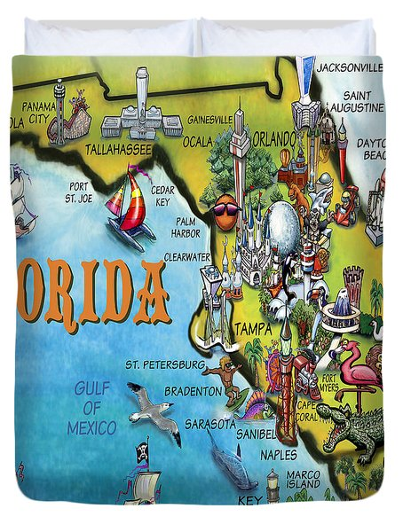 Florida Cartoon Map Duvet Cover by Kevin Middleton