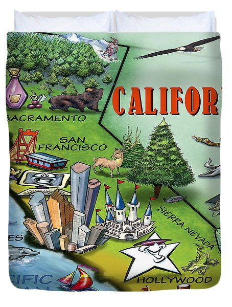 Duvet Cover featuring the digital art California Cartoon Map by Kevin Middleton
