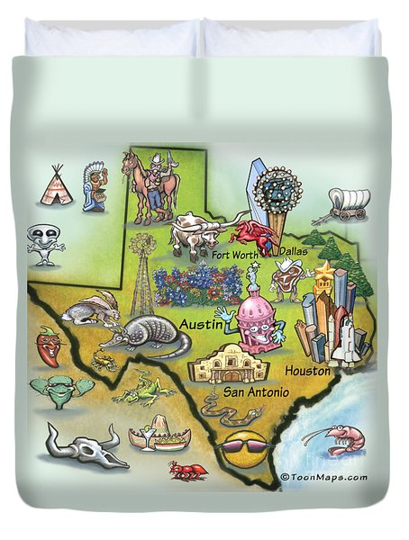 Duvet Cover featuring the digital art Texas Cartoon Map by Kevin Middleton