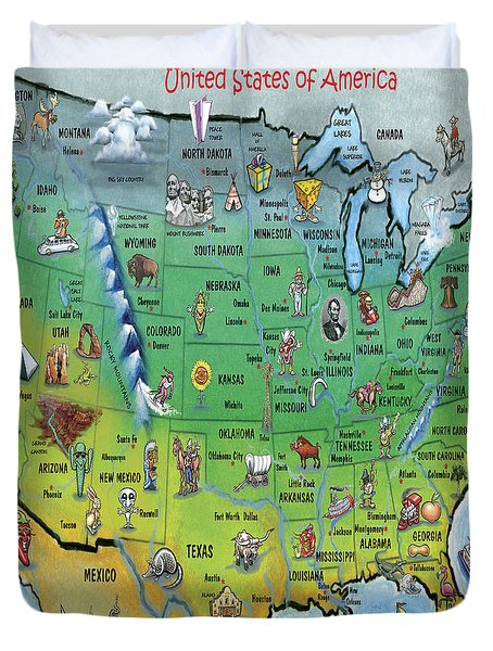 Duvet Cover featuring the painting Usa Cartoon Map by Kevin Middleton