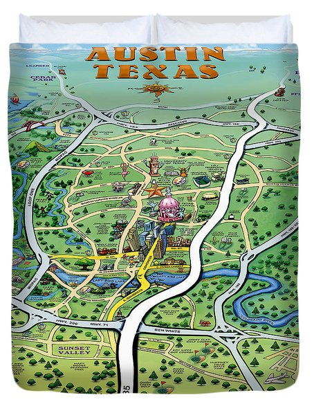 Duvet Cover featuring the digital art Austin Tx Cartoon Map by Kevin Middleton