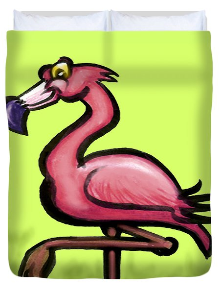 Duvet Cover featuring the painting Flamingo by Kevin Middleton