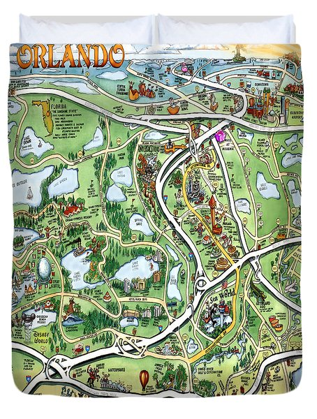 Orlando Florida Cartoon Map Duvet Cover