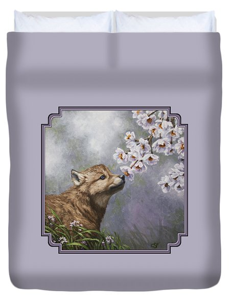 Wolf Pup - Baby Blossoms Duvet Cover by Crista Forest