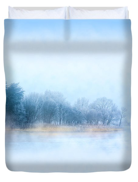 Fog On The River Corrib In Galway Ireland Duvet Cover