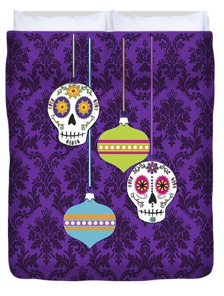 Feliz Navidad Holiday Sugar Skulls Duvet Cover