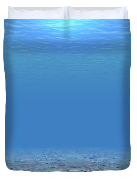 Duvet Cover featuring the digital art Bottom Of The Sea by Phil Perkins