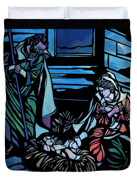 Nativity Stained Glass Duvet Cover by Methune Hively