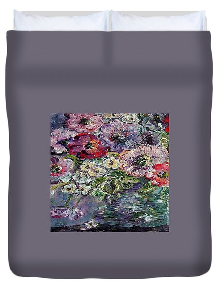 Duvet Cover featuring the painting Flowers In An Antique Blue Vase by Eloise Schneider