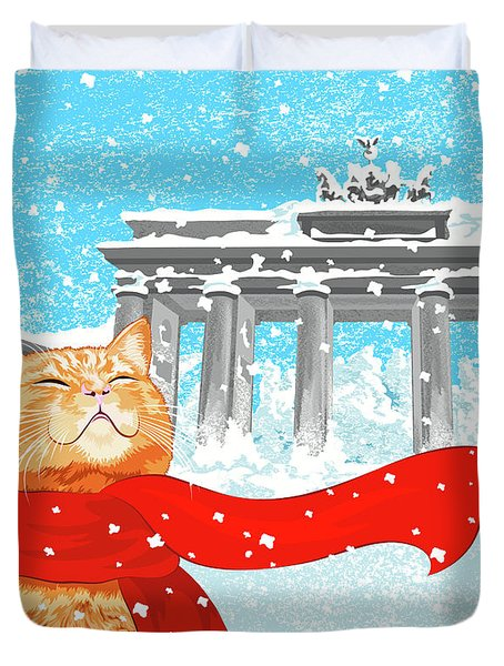 Cat With Scarf Duvet Cover by Carolina Matthes