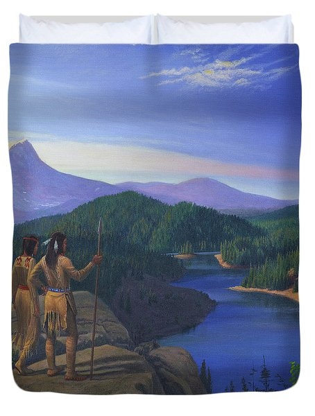 Native American Indian Maiden And Warrior Watching Bear Western Mountain Landscape Duvet Cover by Walt Curlee