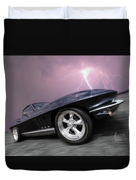 1966 Corvette Stingray With Lightning Duvet Cover