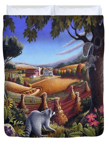 Rural Country Farm Life Landscape Folk Art Raccoon Squirrel Rustic Americana Scene  Duvet Cover