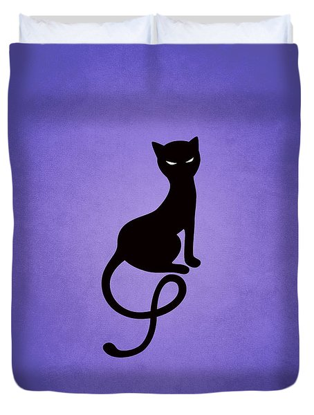Purple Gracious Evil Black Cat Duvet Cover