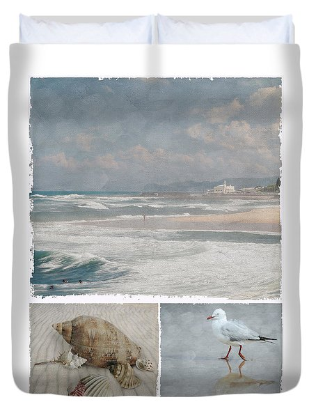 Beach Triptych 1 Duvet Cover by Linda Lees