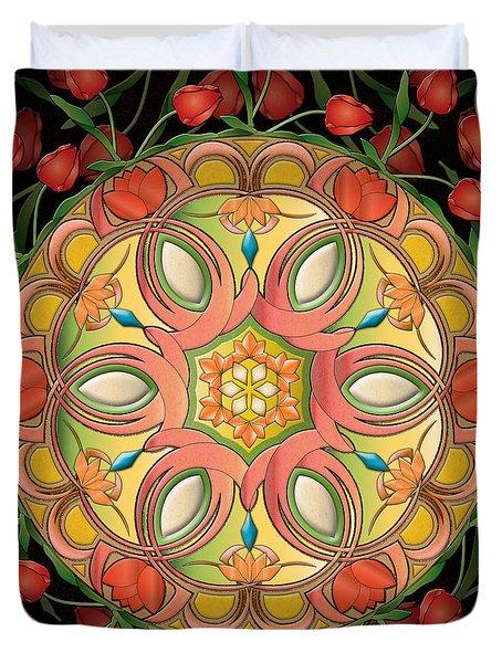 Mandala Tulipa Duvet Cover by Bedros Awak