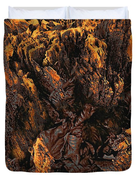 Duvet Cover featuring the photograph Crumbling Tree Stump Abstract Detail In Copper Tones by Menega Sabidussi