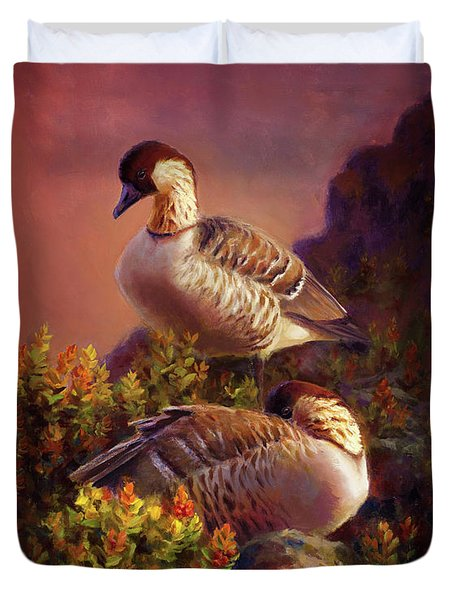 First Light Nene Hawaiian Goose Duvet Cover