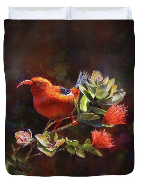 Hawaiian IIwi Bird And Ohia Lehua Flower Duvet Cover
