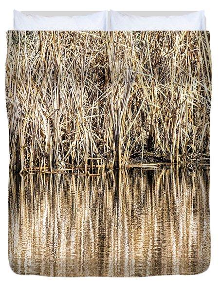Golden Reed Reflection Duvet Cover by Bill Kesler