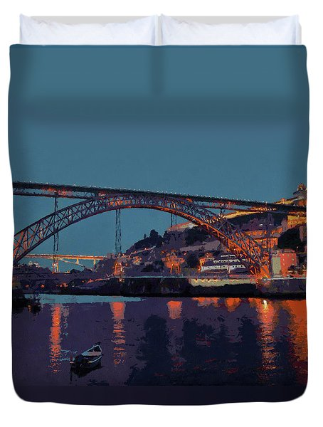 Porto River Douro And Bridge In The Evening Light Duvet Cover