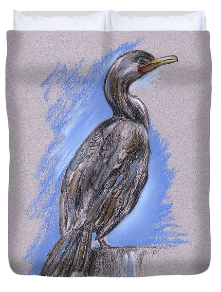 Duvet Cover featuring the pastel Cormorant by MM Anderson