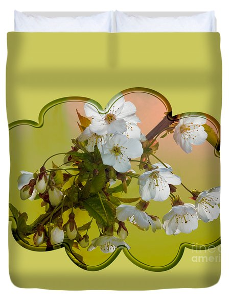 Duvet Cover featuring the photograph Wild Cherry Blossom Cluster by Jane McIlroy