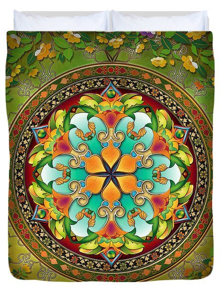 Mandala Evergreen Duvet Cover