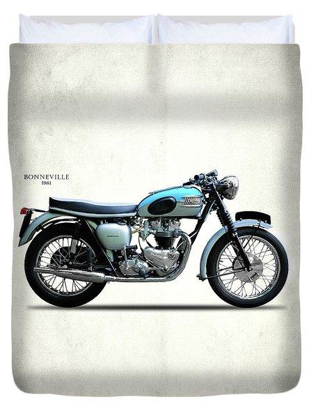 Triumph Bonneville 1961 Duvet Cover by Mark Rogan