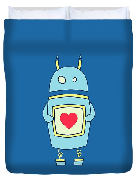 Blue Cute Clumsy Robot With Heart Duvet Cover