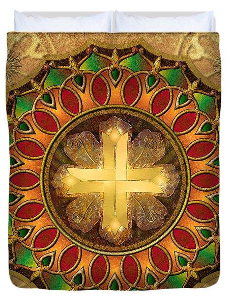 Mandala Illuminated Cross Duvet Cover by Bedros Awak