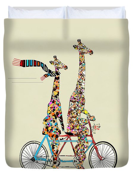 Giraffe Days Lets Tandem Duvet Cover