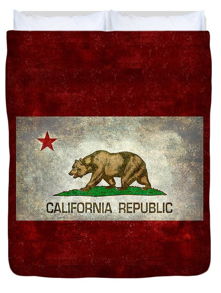California Republic State Flag Retro Style Duvet Cover