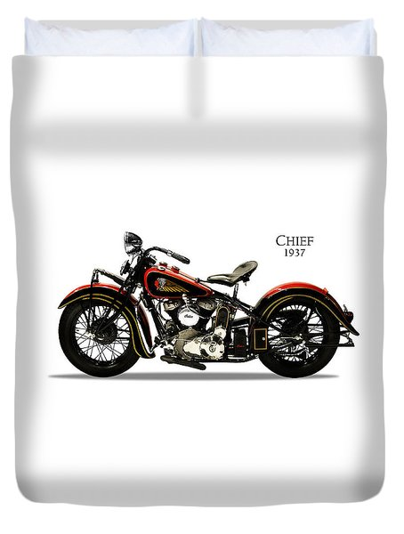 Indian Chief 1937 Duvet Cover by Mark Rogan