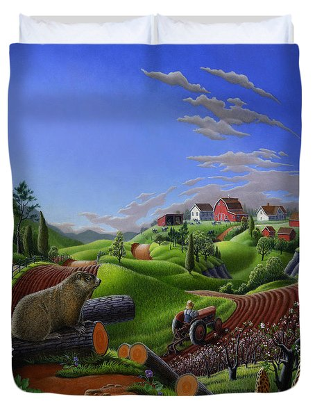 Farm Folk Art - Groundhog Spring Appalachia Landscape - Rural Country Americana - Woodchuck Duvet Cover